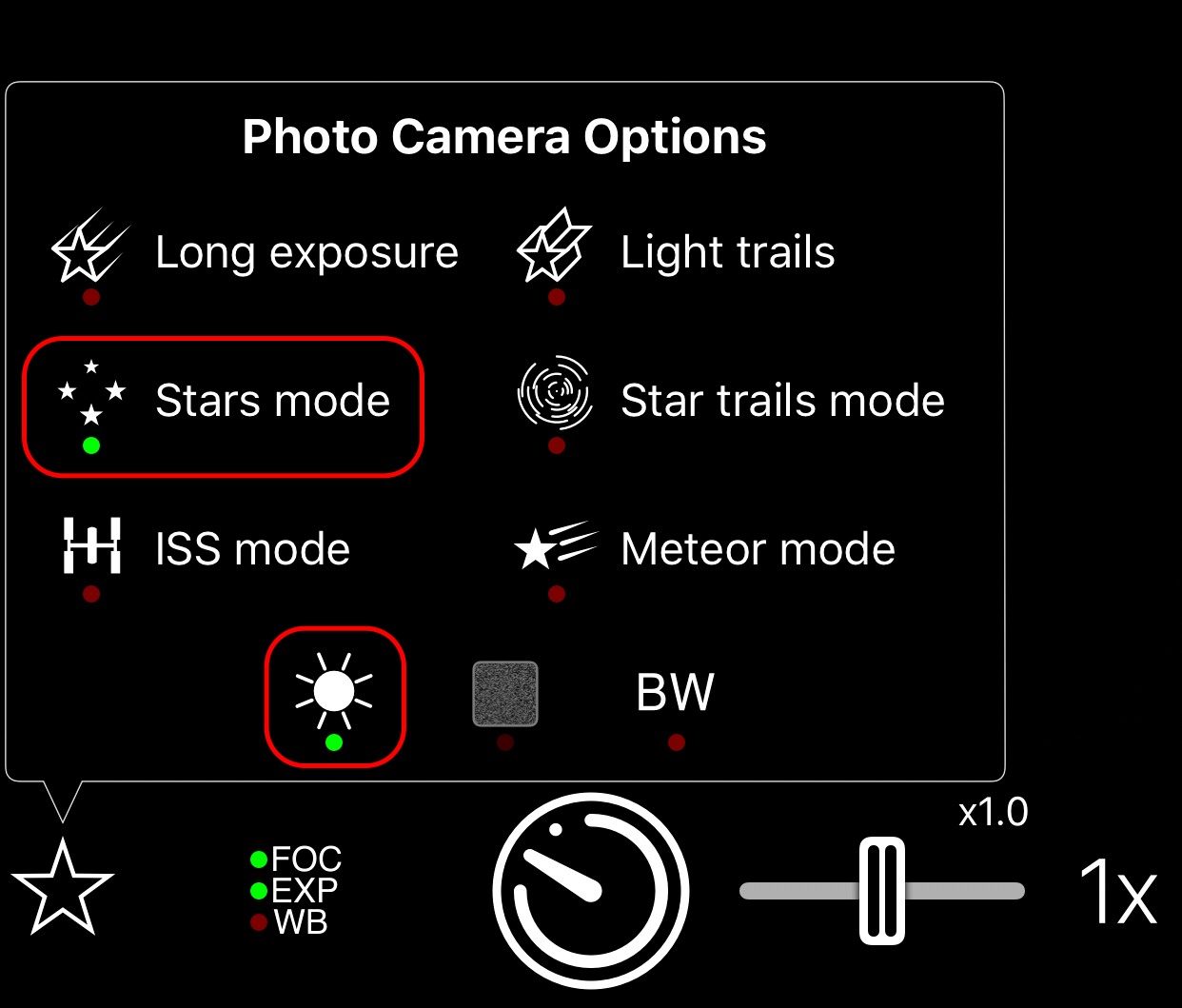 The camera options showing Stars Mode and Light Boost enabled