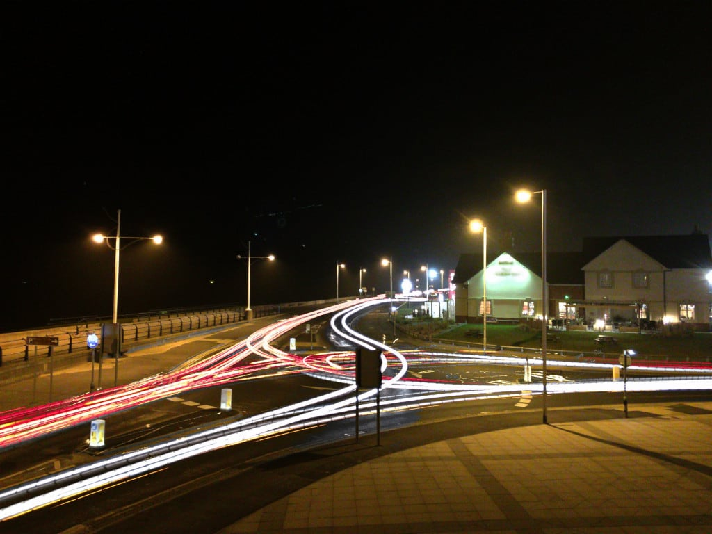 Photo of light trails from traffic at night
